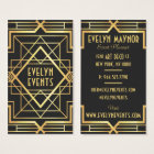 Retro bold black and gold art deco frame pattern business card