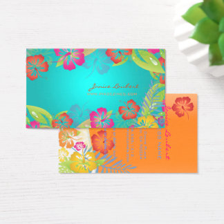 RETRO BOLD TROPICAL FLOWERS, HIBISCUS BUSINESS CARD
