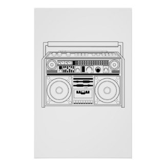 Retro Boom box/Ghetto Blaster T-shirt Poster