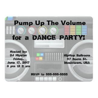 retro boombox dance party customize 17 cm x 22 cm invitation card