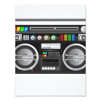 retro boombox ghetto blaster graphic 11 cm x 14 cm invitation card
