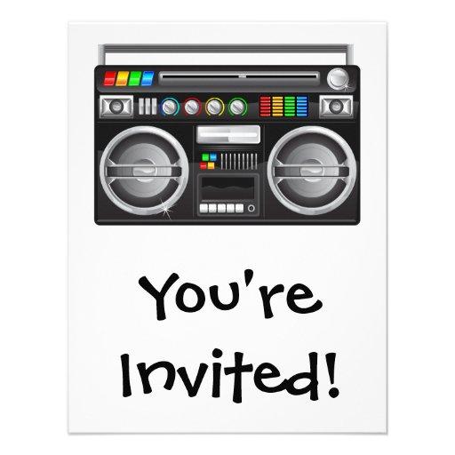 retro boombox ghetto blaster graphic custom invitations