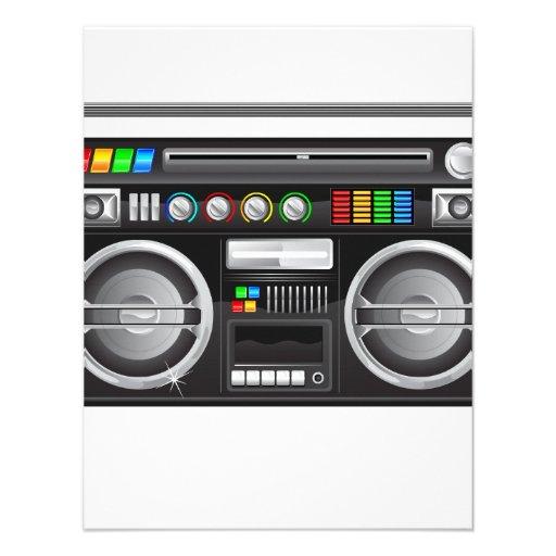 retro boombox ghetto blaster graphic personalized invitations