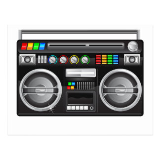 retro boombox ghetto blaster graphic postcard