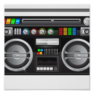 retro boombox ghetto blaster graphic poster