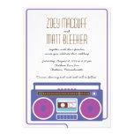 Retro Boombox Indie Mixtape Wedding Purple/Indigo Personalized Invitations