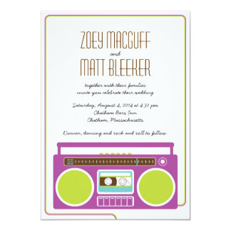 Retro Boombox Indie Mixtape Wedding (Purple/Lime) Card