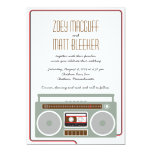 Retro Boombox Indie Mixtape Wedding (Red / Black) 13 Cm X 18 Cm Invitation Card