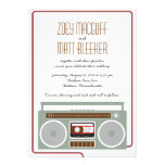 Retro Boombox Indie Mixtape Wedding (Red / Black) Personalized Invitations