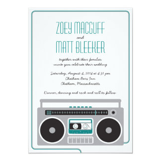 Retro Boombox Indie Mixtape Wedding (Teal / Silver Card