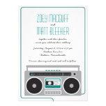 Retro Boombox Indie Mixtape Wedding (Teal / Silver Custom Invitation