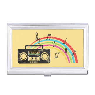Retro boombox with music and rainbow business card cases