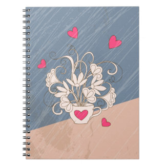 retro bouquet in the cup with hearts notebook