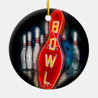 Retro Bowl with bowling pins and ball Christmas Ornament