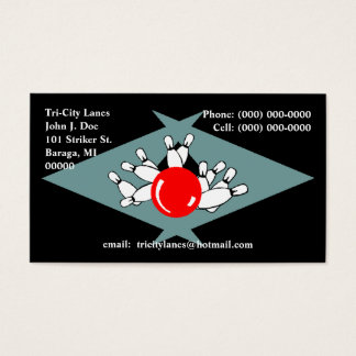 Retro Bowling Alley Lanes Sharp Boomerang pointer Business Card