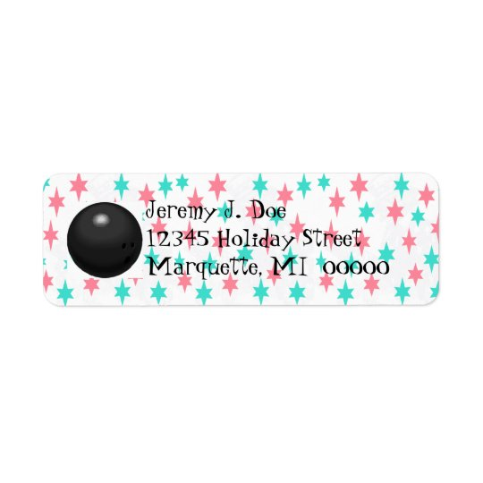 Retro Bowling Ball Bowler's Return address Labels