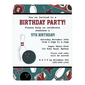 Retro Bowling Birthday Party 11 Cm X 14 Cm Invitation Card