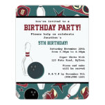 Retro Bowling Birthday Party Announcement