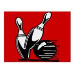 Retro Bowling Pins Customisable Post Card