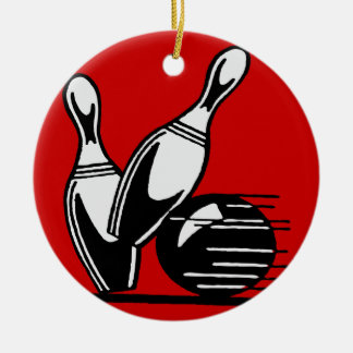 Retro Bowling Pins Customizable Christmas Ornament