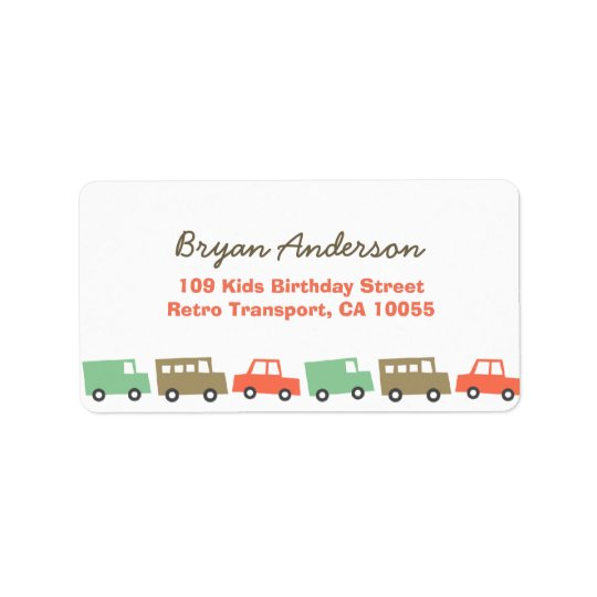 Retro Boys Toys Fun Transport Birthday Address La Address Label