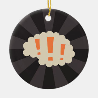 Retro brain with exclamation marks round ceramic decoration