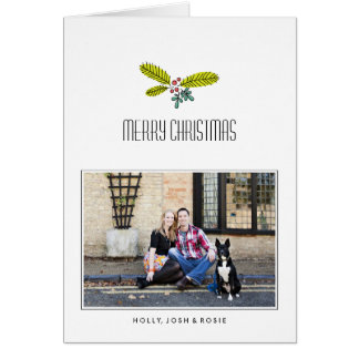 Retro Branch Folded Christmas Card Custom Message
