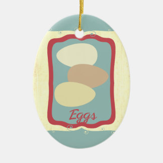 Retro breakfast food icon eggs Christmas ornament