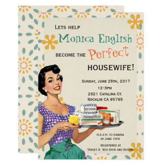 Retro Bridal Shower Invitation 1950's housewife