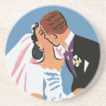 Retro Bride and Groom, You May Now Kiss the Bride Drink Coasters