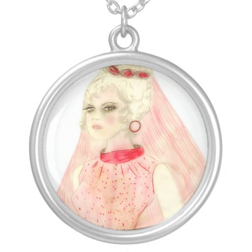 Retro Bride in Red and Pink Custom Necklace
