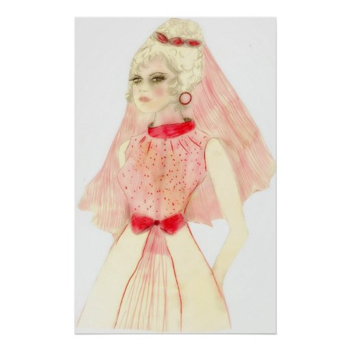 Retro Bride in Red and Pink Posters