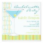 """Retro Bride Martini Bachelorette Party Invitation 5.25"""" Square Invitation Card"""