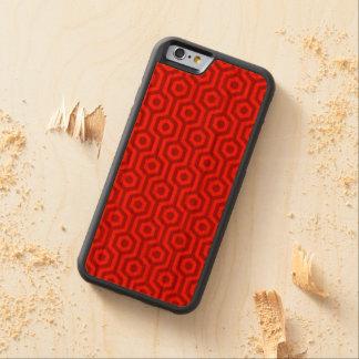 Retro Bright Red Hexagonal Geometric Pattern Carved Cherry iPhone 6 Bumper Case