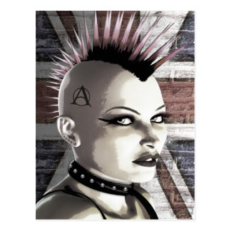 Retro British Punk Girl Postcard