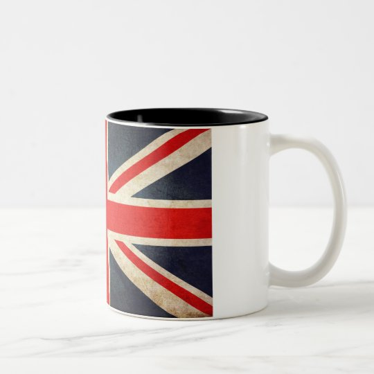 Retro British Union Jack Flag Two-Tone Coffee Mug