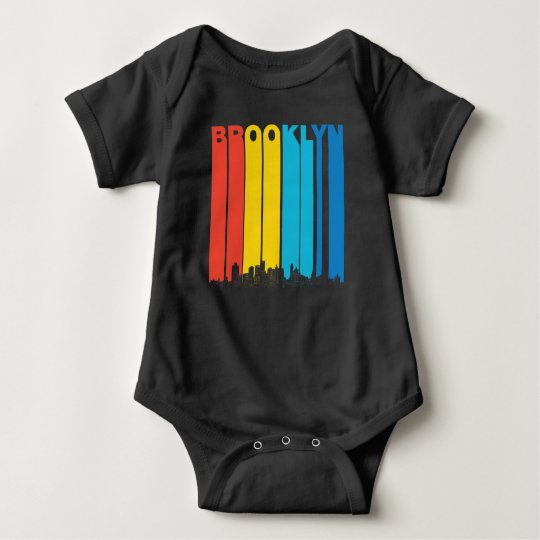 Retro Brooklyn New York Skyline Baby Bodysuit
