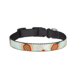 Retro brown and mint pineapple patterns monogram pet collar