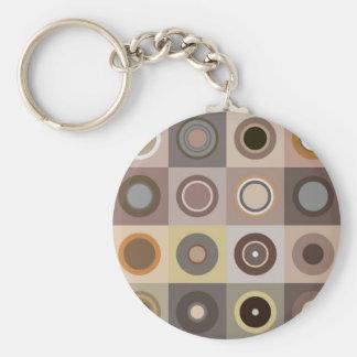 Retro brown circles keychain