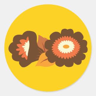 Retro Brown Flowers Classic Round Sticker