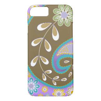 Retro brown paisley motif custom iPhone 7 case