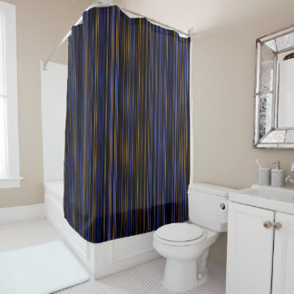 Retro brown purple blue stripe  Shower curtain