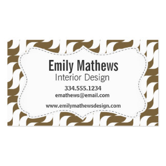 Retro Brown Wave Pattern Business Card Template