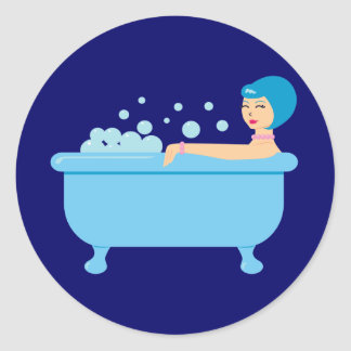 Retro Bubble Bath Girl Classic Round Sticker