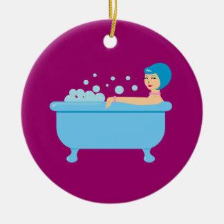 Retro Bubble Bath Girl Round Ceramic Decoration