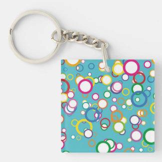 Retro Bubbly Circles Square Acrylic Keychain