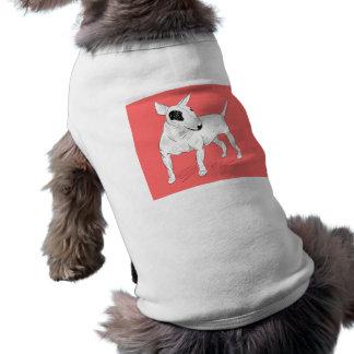 Retro Bull Terrier Doodle on Peach Background Pet Shirt