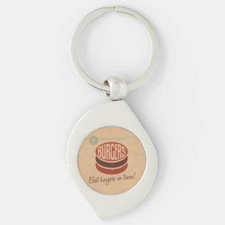 Retro Burger Silver-Colored Swirl Key Ring