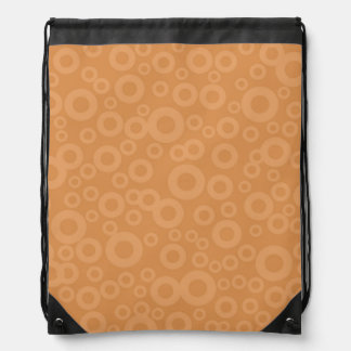 Retro Burnt Orange Circles Pattern Drawstring Bag