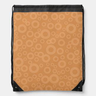 Retro Burnt Orange Circles Pattern Drawstring Bag